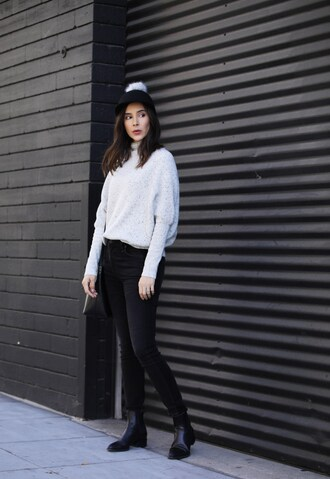 inspades blogger hat sweater jeans shoes bag fall outfits pom pom cap cap ankle boots black panties