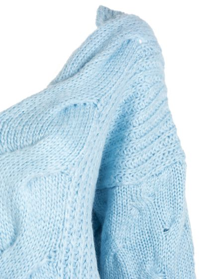 ce4c4fc8ff6 Light Blue Split Cable Knit Back Oversized Sweater - Choies.com