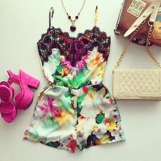 jumpsuit flowers colors summer style romper fashion