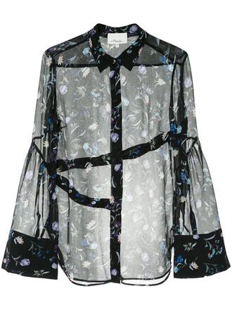 shirt sheer shirt embroidered sheer women floral black silk top
