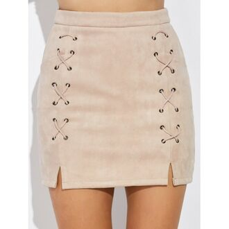 skirt nude suede criss cross light pink mini skirt trendy trendsgal.com