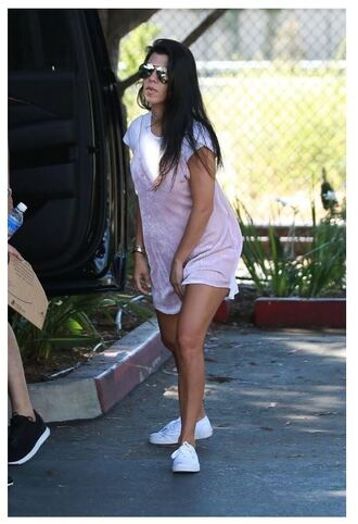dress sneakers top kourtney kardashian summer dress summer outfits camisole pink dress dress over t-shirt slip dress mini dress short dress celebrity style celebrity low top sneakers white sneakers aviator sunglasses sunglasses white t-shirt t-shirt