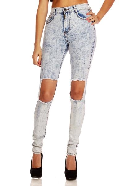 Waist distressed skinny jeans
