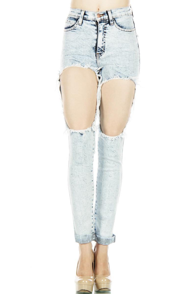 Vibrant miu mid rip denim jeans