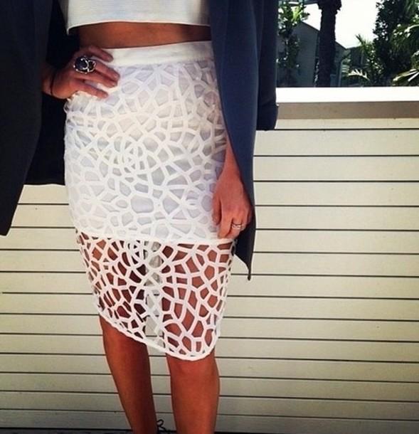skirt white midi skirt cut-out
