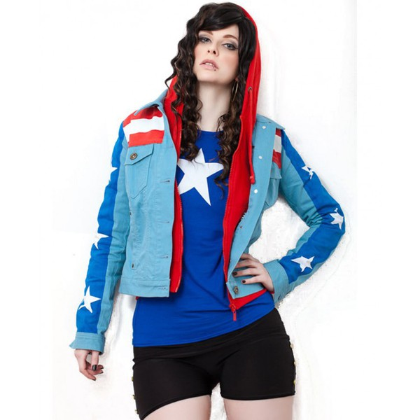 jacket marvel comic character miss america fashion ootd style womenswear outfit shopping