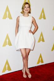 dress,white dress,mini dress,rosamund pike