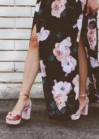 shoes velvet pink velvet pink heels bow heels girly sandals floral dress floral summer dress