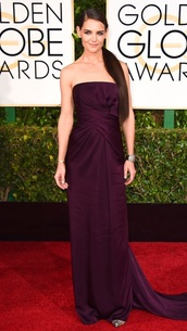 dress,katie holmes,Golden Globes 2015,plum,shoes,louboutin,clutch,pumps,bag,lizard clutch bag