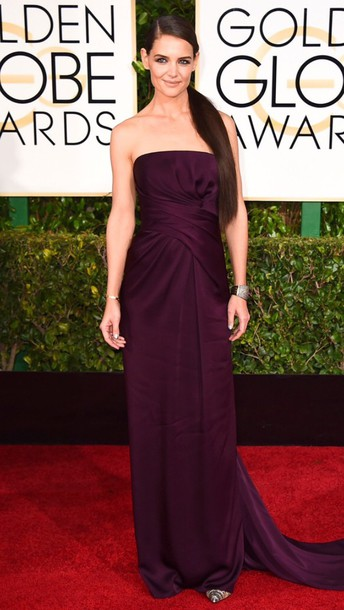 dress katie holmes Golden Globes 2015 plum shoes louboutin clutch pumps bag lizard clutch bag