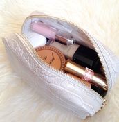 bag,make-up,white,gold,lip gloss,dior,chanel,ysl,makeup bag