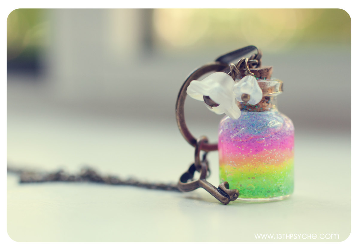 Rainbow bottle Necklace. Glitter Rainbow gel and Flowers. Glass Vial Necklace. Glass Bottle Pendant. Cute Necklace. Miniature bottle