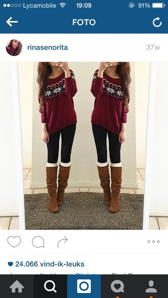 christmas sweater burgundy sweater suede boots