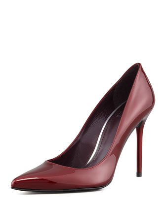 Stuart Weitzman Nouveau Patent Leather Pump, Dark Red - Neiman Marcus