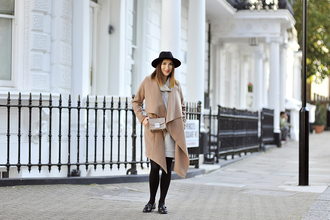 shiny sil blogger camel coat waterfall coat