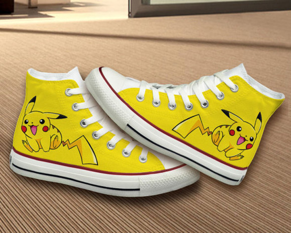 pokemon pikachu girly shoes converse hand painted best gifts birthday gift girlfriend gift