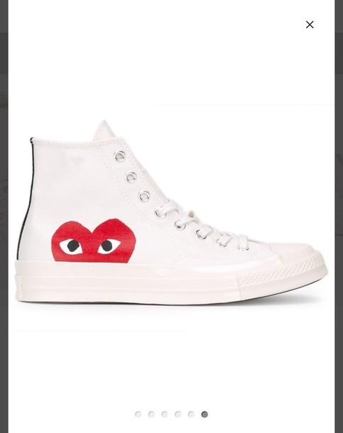 Shoes: white, converse, comme des garcons, cdg, love - Wheretoget