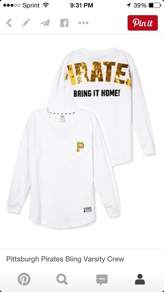 top pittsburgh pirates victoria's secret sweater varsity crew bling black and gold