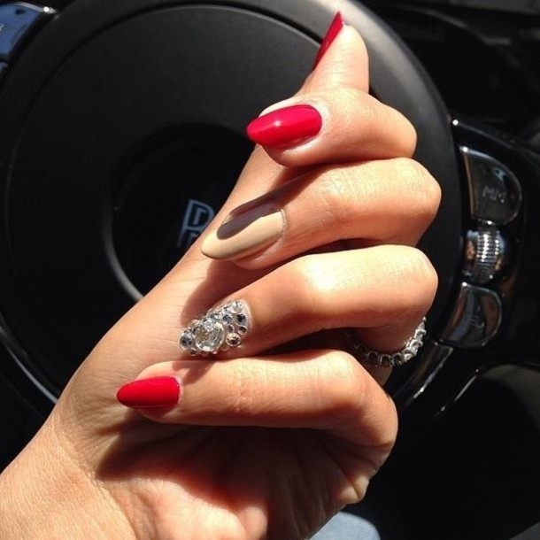 nail polish sparkle jewels acrylic red nails