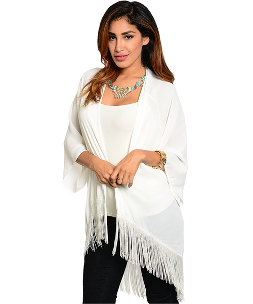 White sheer chiffon long batwing kimono cardigan fringe · noirstar boutique · online store powered by storenvy