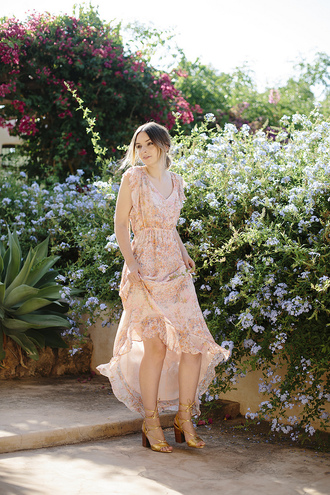 what olivia did... blogger dress bag shoes pink dress maxi dress beige nude high low dress v neck v neck dress floral dress ruffle ruffle dress gold sandals sandals block heels lace up heels lace up sandals summer dress summer outfits date outfit date dress