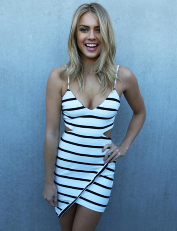 dress summer dress summer outfits striped dress stripes cute dress cut-out dress black and white wrap dress