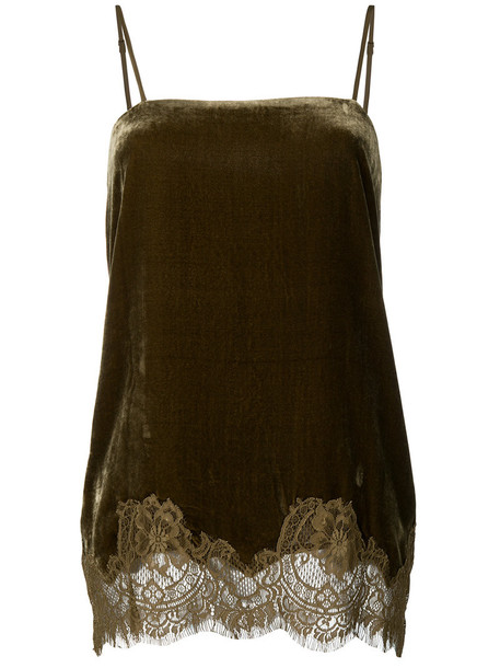 Gold Hawk top women lace cotton silk green