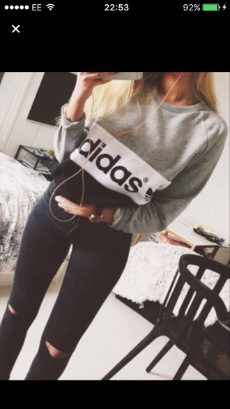 top adidas grey black jumper stripes black top grey top grey sweater black sweater adidas shirt