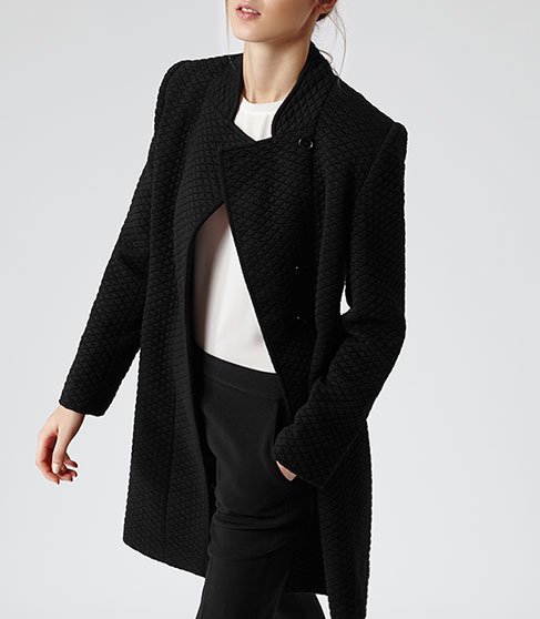 Vanity Black Quilted Jersey Long Coat - REISS