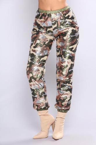 pants camo sequin pants
