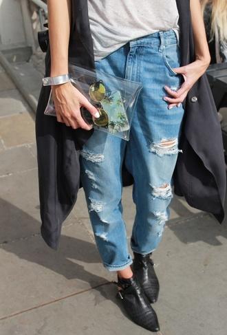 shoes boots cutou crocodile jeans denim pale blue rippe baggy cuff