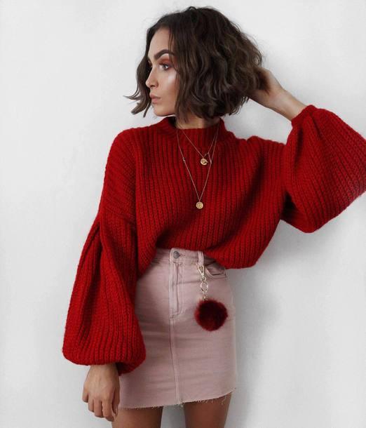 Sweater skirt tumblr red sweater puffed sleeves mini skirt pink skirt fur keychain ...