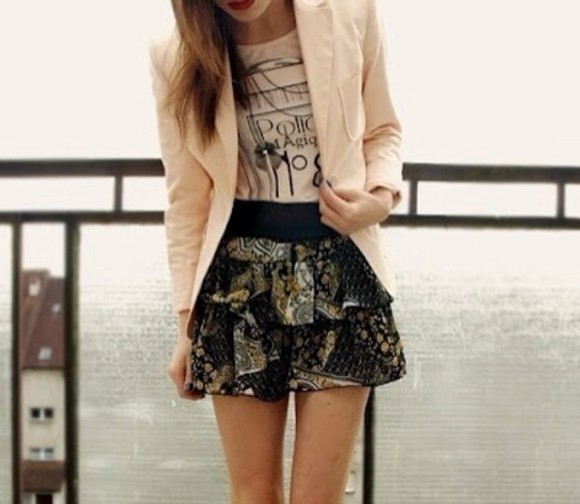 brown skirt black jacket white light pink blouse