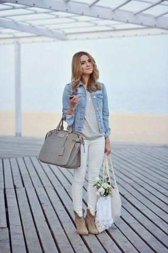 jacket denim jacket grey shirt white jeans brown boots beige bag blogger