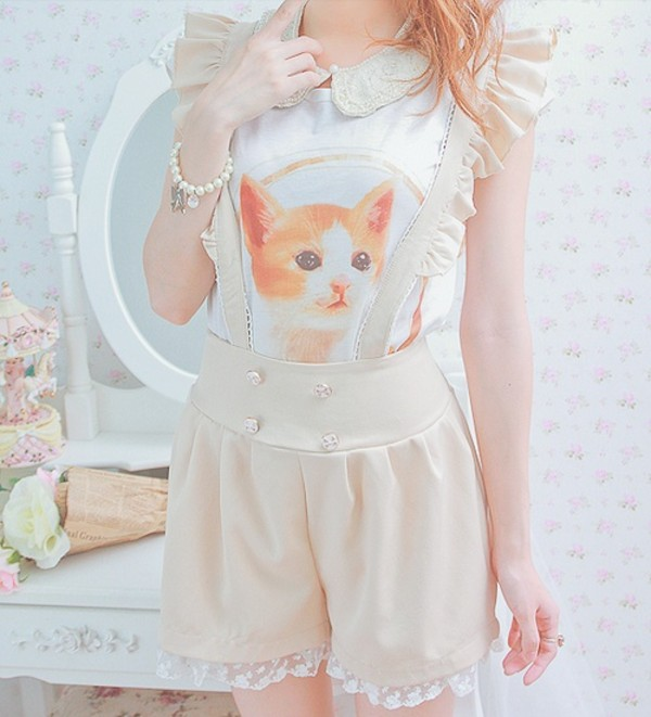 shorts kawaii cute shirt cats girly ruffle cream suspenders cream shorts outfit collared ulzzang ulzzang frilly dress