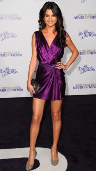 selena gomez purple dress mini dress