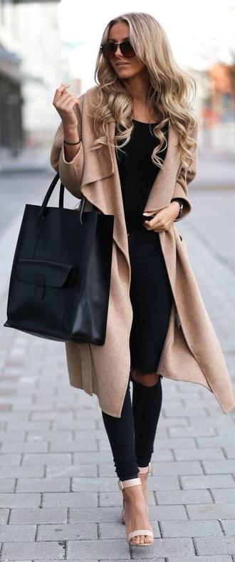 coat trench coat outerwear bag matte black