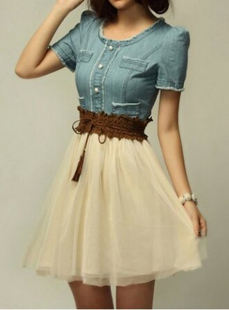 dress denim belted cream