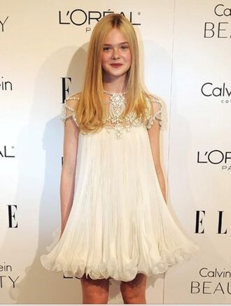 dress elle fanning white dress cute pretty beadwork