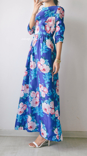 dress,maxi dress,pleated dress,dazzling blue,three quarter sleeves blue,three-quarter sleeves