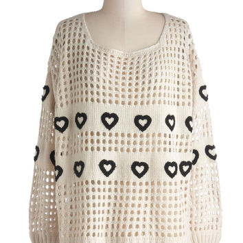 Hearts Aplenty Sweater | Mod Retro Vintage Sweaters | ModCloth.com on Wanelo