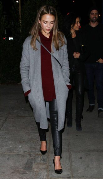 coat sweater fall outfits pants pumps jessica alba grey