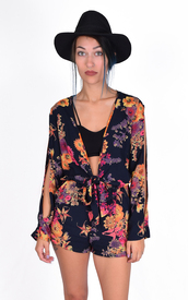 romper,dress,floral,flowers,tie front,open sleeves,bell sleeves,shorts,onesie,fall outfits,flora,cute,outfit,ootd,romp,hippie,gypsy,long sleeves,low cut,boho,grunge,comfy,blue,dressy,casual,vintage,70s style,60s style,slit sleeves,floral romper,vintage romper