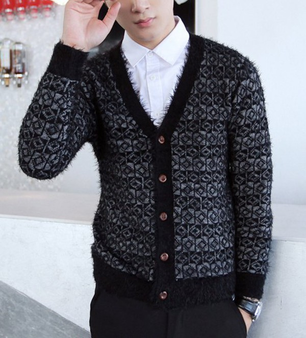 stylish v neck long sleeves thicken cardigan