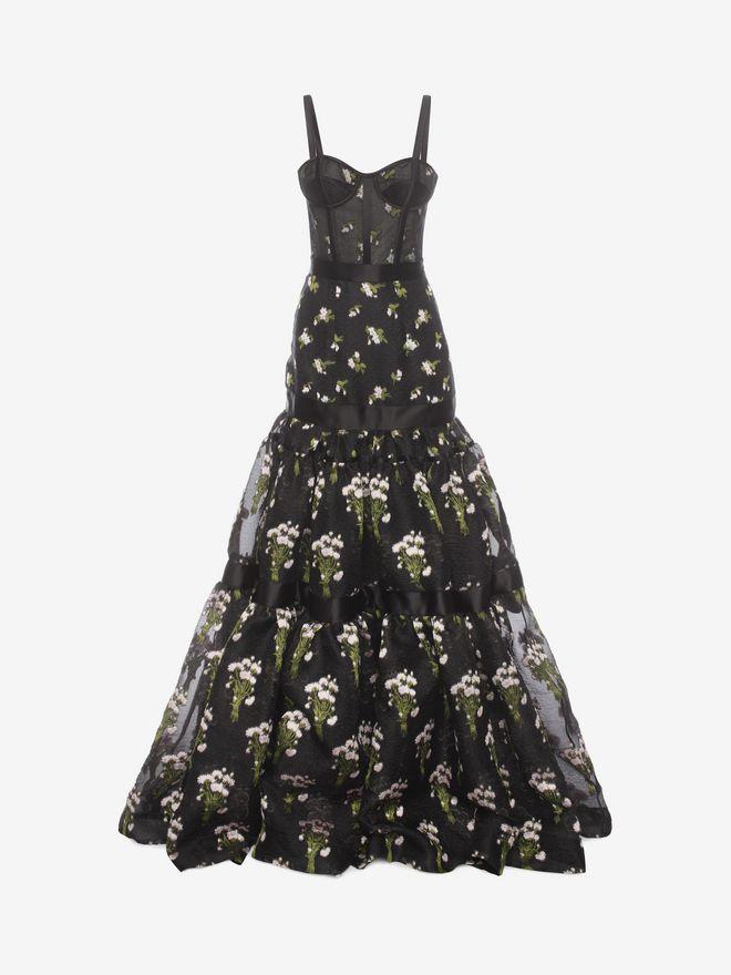 Women's   Long Tier Violet Jacquard Dress    Alexander McQueen