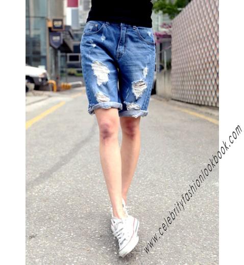 length Denim Shorts