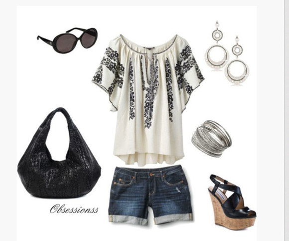 clothes outfit top bag bangles sunglasses shirt pattern earrings bracelets high heels purse shoes loose fit blouse short sleeves shorts wedges cowl neck black and white black wedges sling back wedges peep toe wedges peep toe sling back wedges
