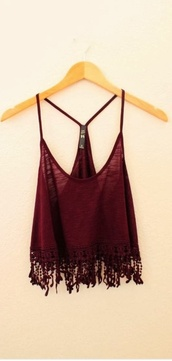 shirt,tank top,burgundy,straps,fringes,dark red tank top,frayed,red,crop tops,blouse,cute,boho,spaghetti strap,fringed top,fringe tank,top,frayed shirt,clothes,tumblr,tumblr clothes,hippie,boho chic,red t-shirt,lace crop top,gypsy,summer,summer outfits,summer top,coachella,tassles,wine,vest,strappy,crop,burgundy top,boho shirt,urban,tumblr outfit,tumblr shirt,fashion