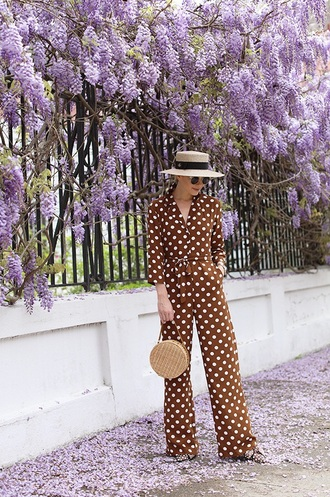 jumpsuit hat straw hat sunglasses printed jumpsuit polka dots spring outfits