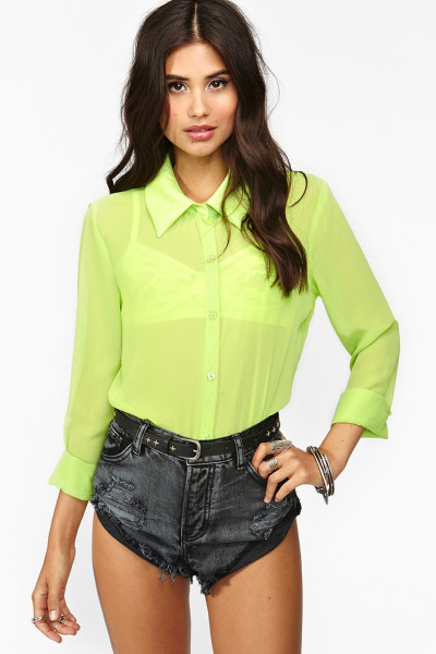 Nasty Gal Neon Chiffon Blouse in Green | Lyst